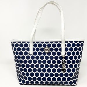 Micheal Kors Small Kiki Tote White with Blue Dots